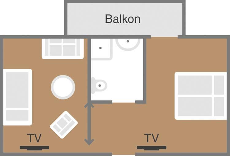 Skizze Familien Zimmer Ferienlust F2 Schoenblick_Velden
