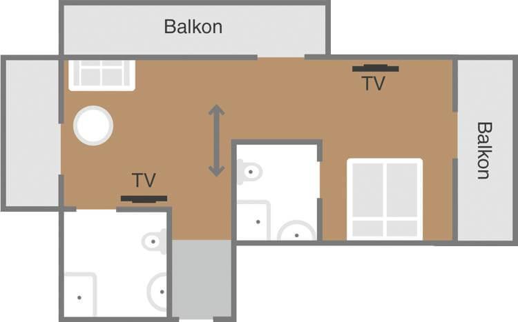 Skizze Familienzimmer Ferienlust F1 Schoenblick Velden